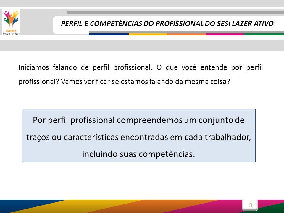 3 PERFIL E COMPETÊNCIAS DO PROFISSIONAL DO SESI LAZER ATIVO Iniciamos falando de perfil profissional. O que você entende por perfil profissional? Vamo