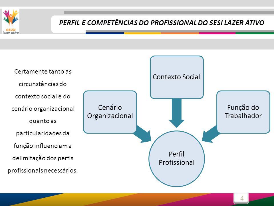 5 Vejamos, a seguir, cada um dos três elementos destacados: Cenário OrganizacionalContexto Social Função do Trabalhador PERFIL E COMPETÊNCIAS DO PROFISSIONAL DO SESI LAZER ATIVO