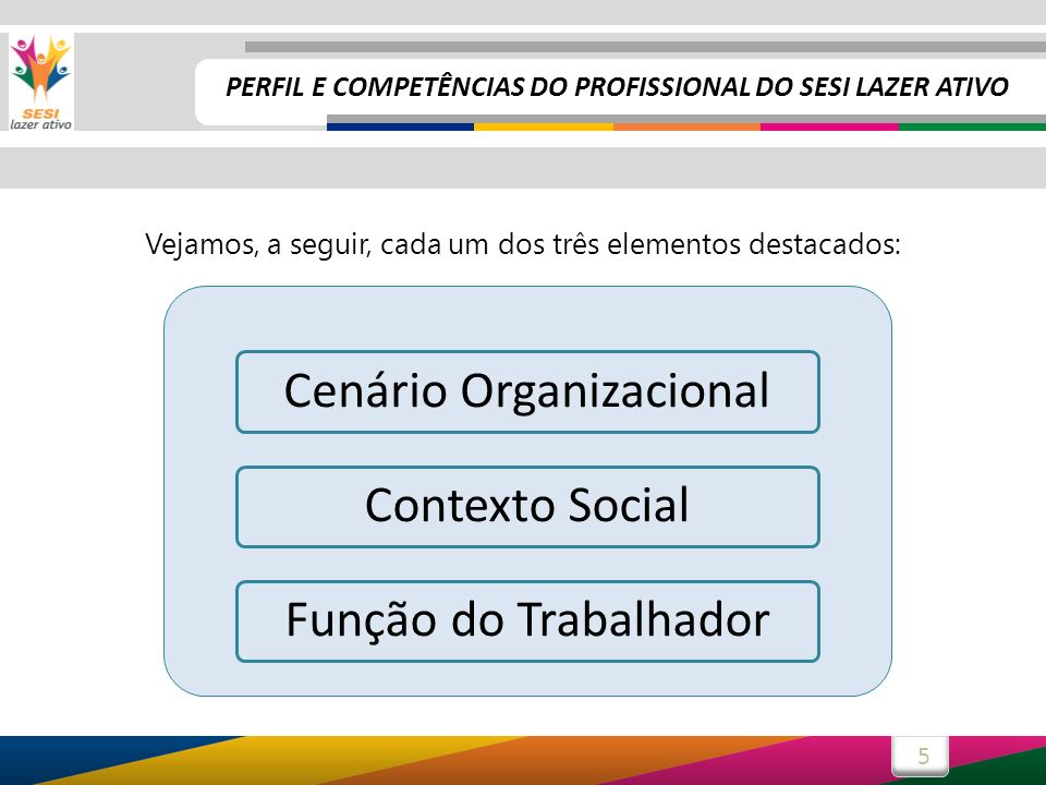 5 Vejamos, a seguir, cada um dos três elementos destacados: Cenário OrganizacionalContexto Social Função do Trabalhador PERFIL E COMPETÊNCIAS DO PROFI