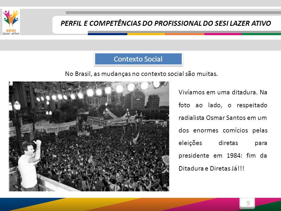9 No Brasil, as mudanças no contexto social são muitas. Contexto Social Vivíamos em uma ditadura. Na foto ao lado, o respeitado radialista Osmar Santo