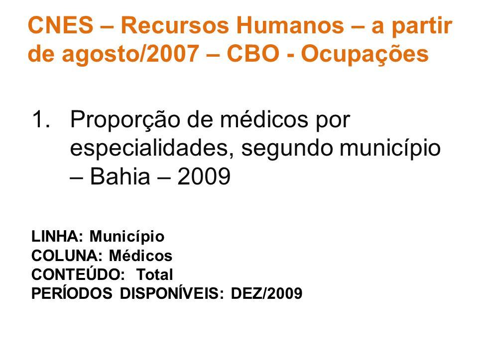 1.Proporção de médicos por especialidades, segundo município – Bahia – 2009 CNES – Recursos Humanos – a partir de agosto/2007 – CBO - Ocupações LINHA: