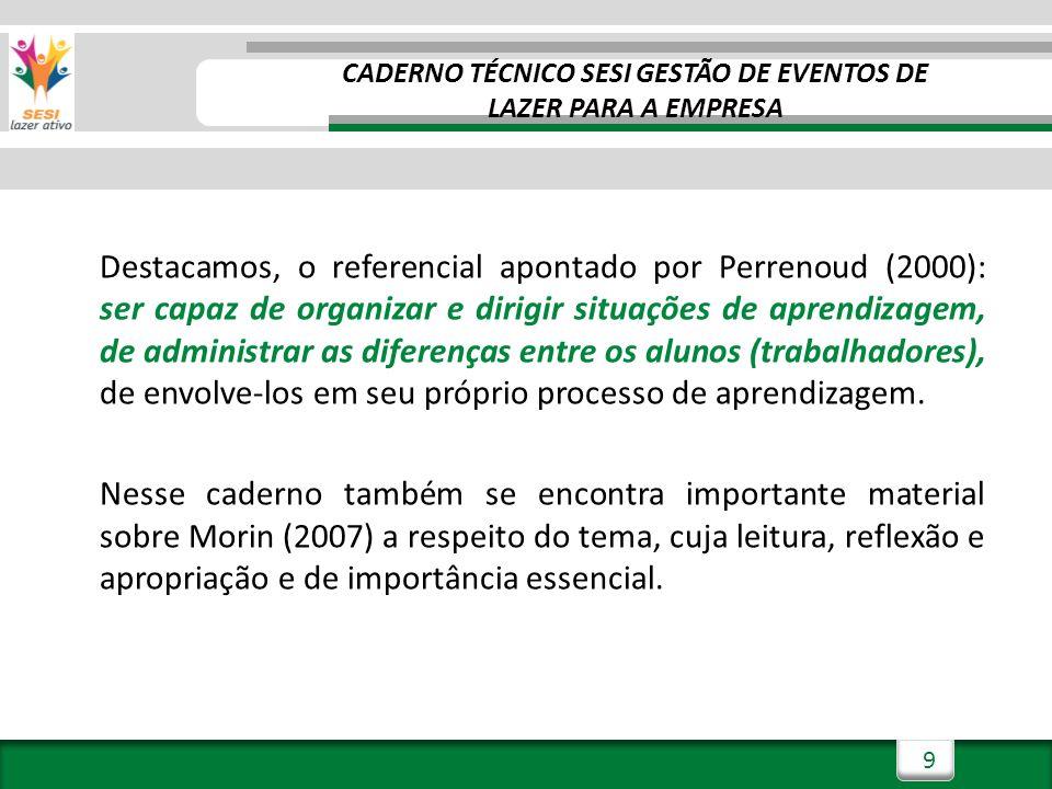 9 Destacamos, o referencial apontado por Perrenoud (2000): ser capaz de organizar e dirigir situações de aprendizagem, de administrar as diferenças entre os alunos (trabalhadores), de envolve-los em seu próprio processo de aprendizagem.