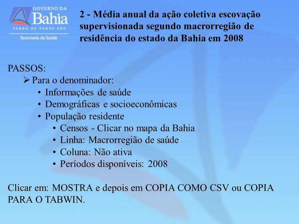 2 - Média anual da ação coletiva escovação supervisionada segundo macrorregião de residência do estado da Bahia em 2008 PASSOS: Para o denominador: In
