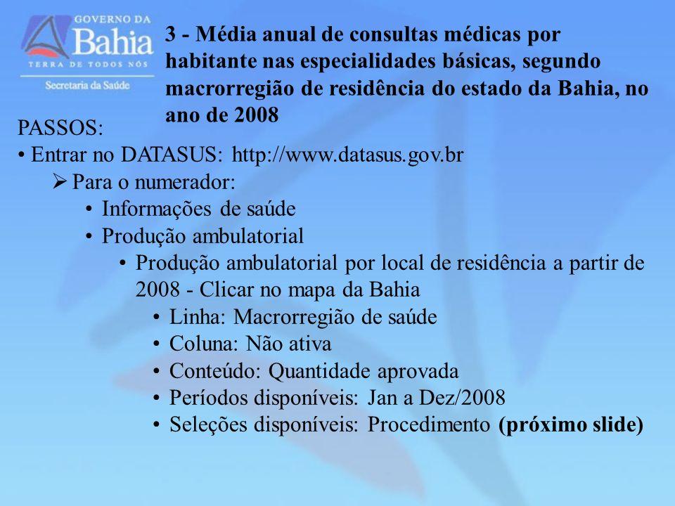 3 - Média anual de consultas médicas por habitante nas especialidades básicas, segundo macrorregião de residência do estado da Bahia, no ano de 2008 P