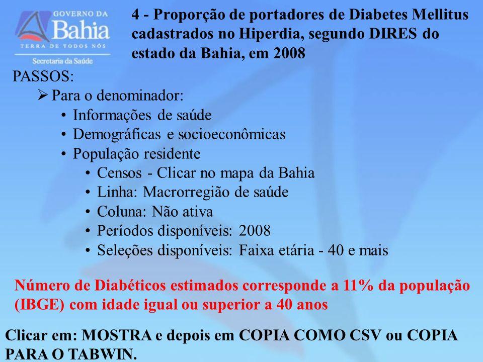 4 - Proporção de portadores de Diabetes Mellitus cadastrados no Hiperdia, segundo DIRES do estado da Bahia, em 2008 Clicar em: MOSTRA e depois em COPI