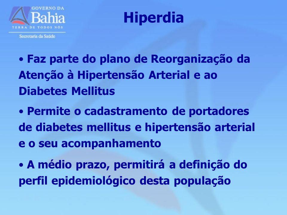 Hiperdia Faz parte do plano de Reorganização da Atenção à Hipertensão Arterial e ao Diabetes Mellitus Permite o cadastramento de portadores de diabete