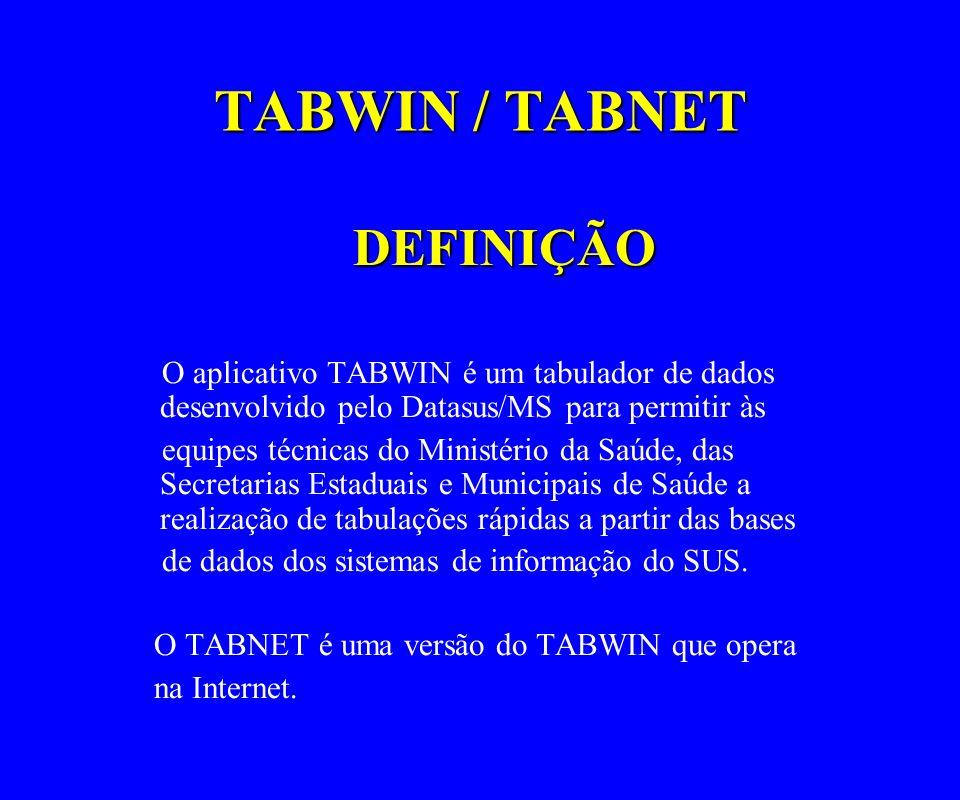 TABWIN / TABNET DEFINIÇÃO O aplicativo TABWIN é um tabulador de dados desenvolvido pelo Datasus/MS para permitir às equipes técnicas do Ministério da