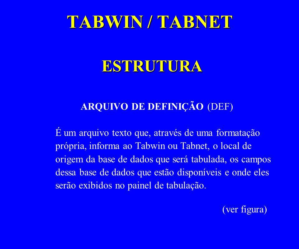 TABWIN / TABNET ESTRUTURA ARQUIVO DE DEFINIÇÃO (DEF) É um arquivo texto que, através de uma formatação própria, informa ao Tabwin ou Tabnet, o local d