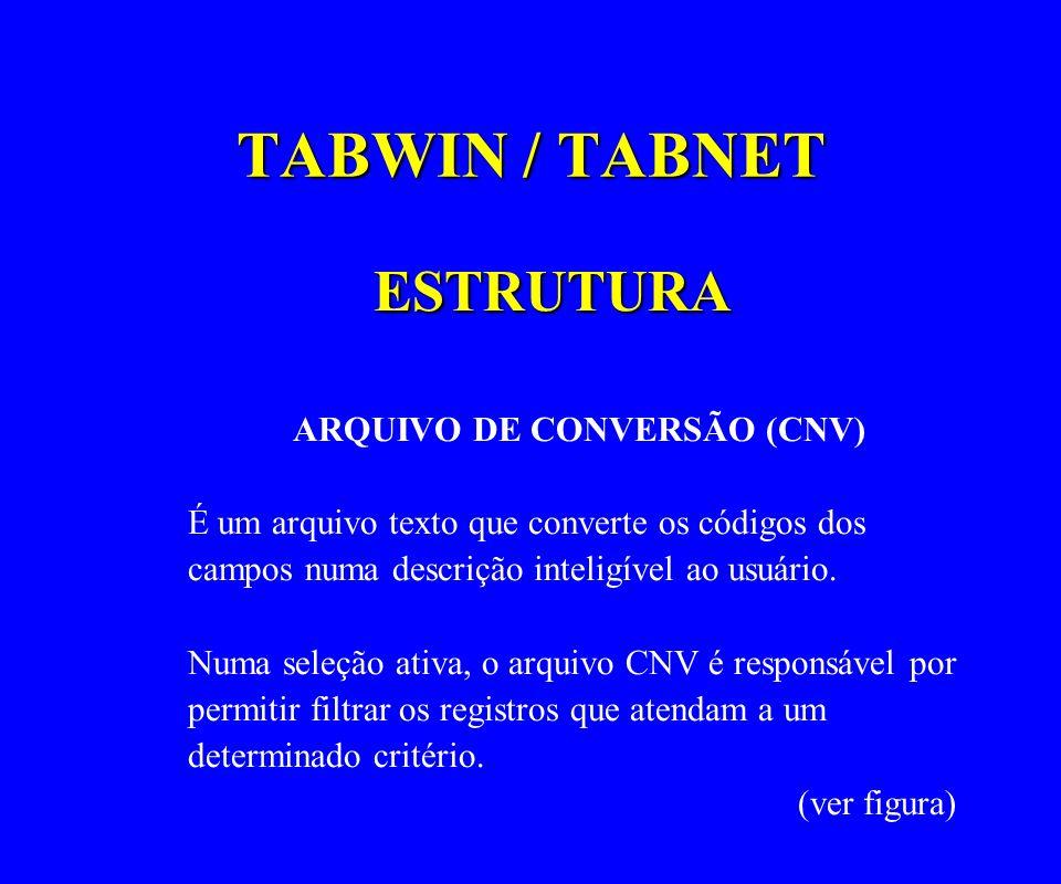 TABWIN / TABNET ESTRUTURA ARQUIVO DE CONVERSÃO (CNV) É um arquivo texto que converte os códigos dos campos numa descrição inteligível ao usuário. Numa
