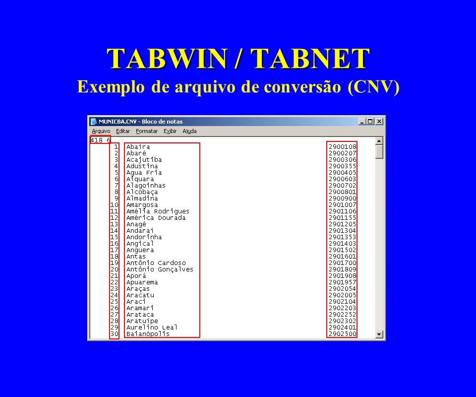 TABWIN / TABNET TABWIN / TABNET Exemplo de arquivo de conversão (CNV)