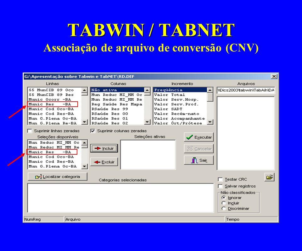 TABWIN / TABNET TABWIN / TABNET Associação de arquivo de conversão (CNV)