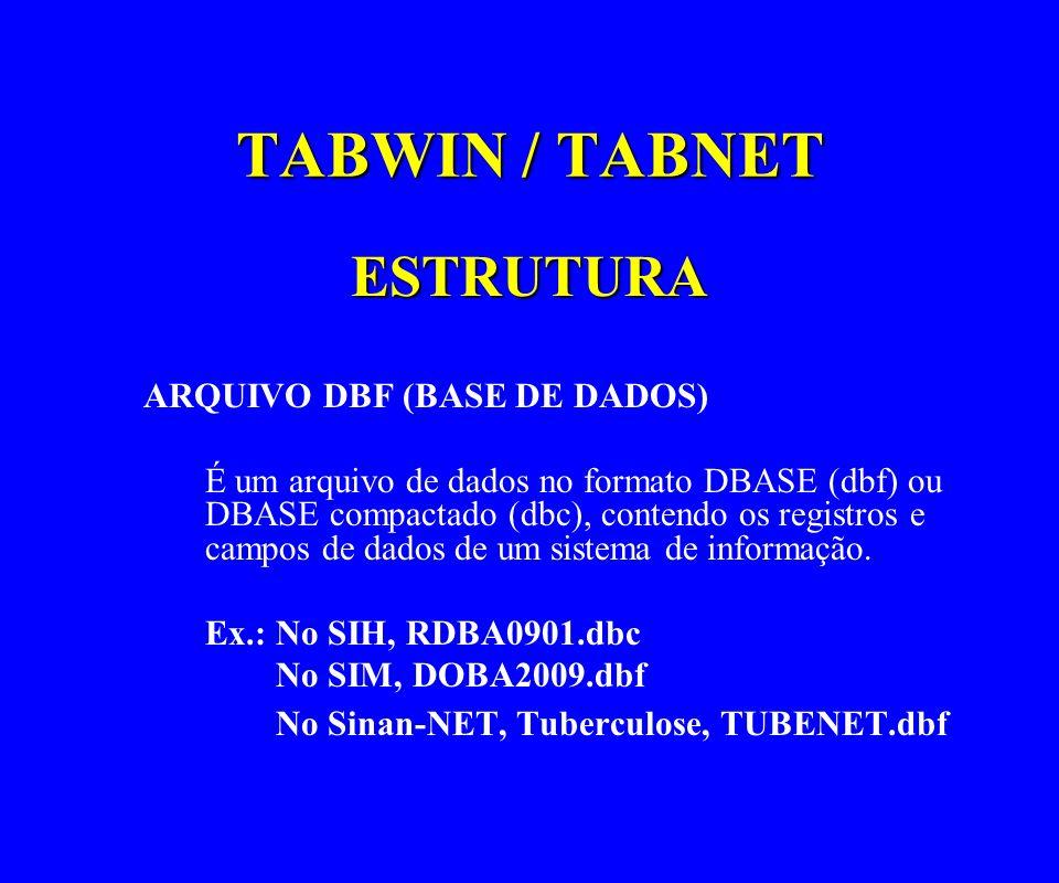 TABWIN / TABNET ESTRUTURA ARQUIVO DBF (BASE DE DADOS) É um arquivo de dados no formato DBASE (dbf) ou DBASE compactado (dbc), contendo os registros e