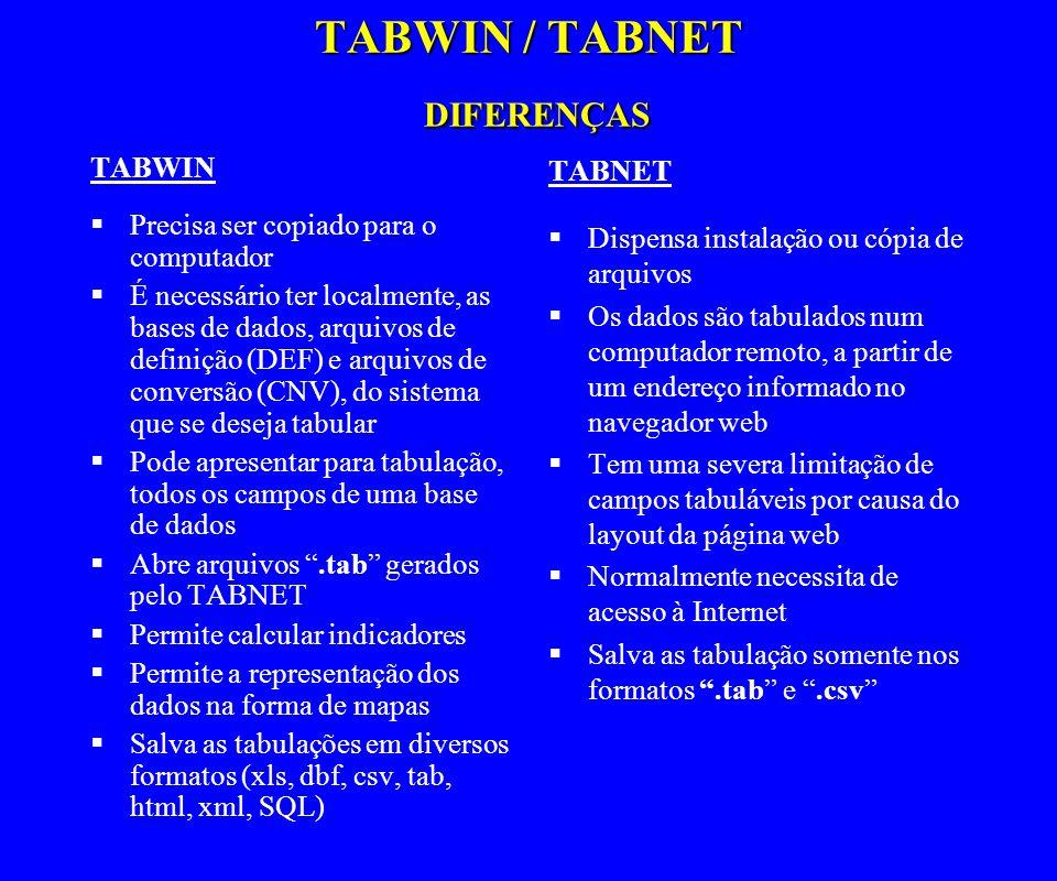 TABWIN / TABNET DIFERENÇAS TABWIN Precisa ser copiado para o computador É necessário ter localmente, as bases de dados, arquivos de definição (DEF) e