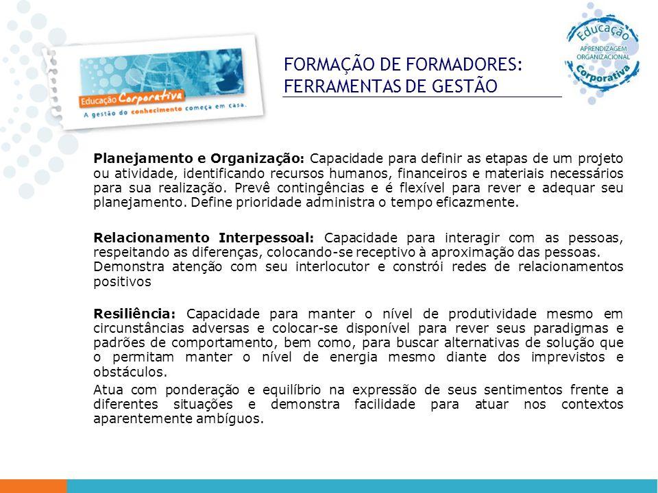 FORMAÇÃO DE FORMADORES: FERRAMENTAS DE GESTÃO Planejamento e Organização: Capacidade para definir as etapas de um projeto ou atividade, identificando