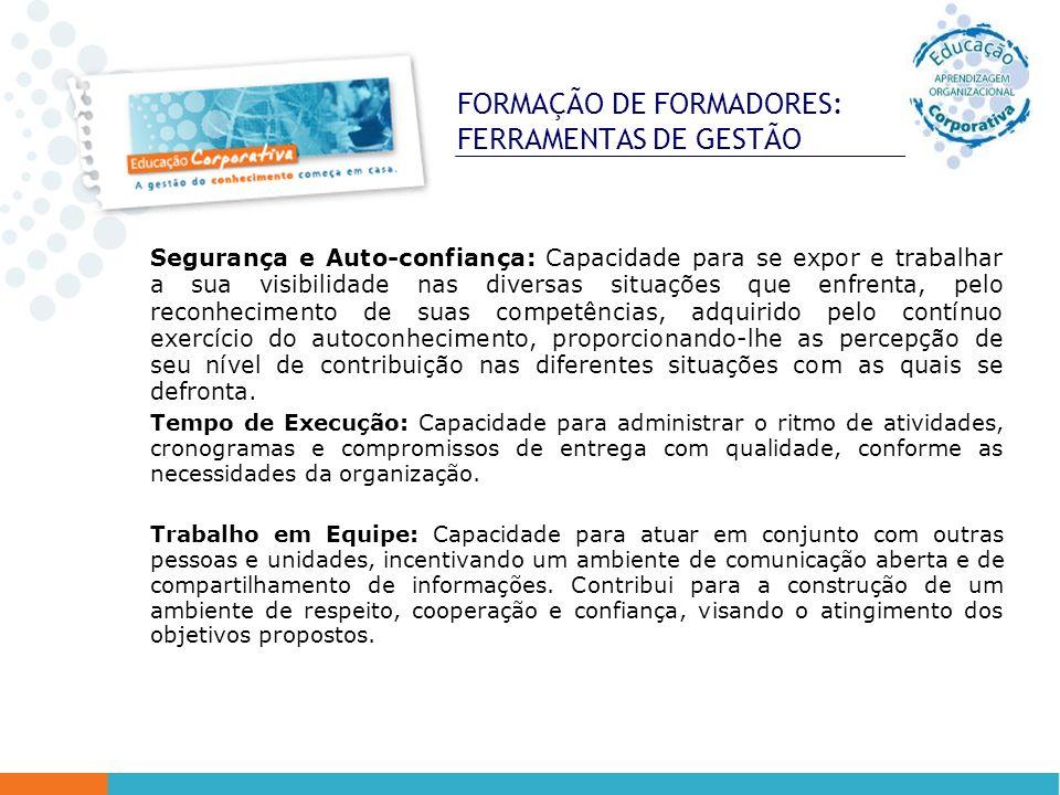 FORMAÇÃO DE FORMADORES: FERRAMENTAS DE GESTÃO Segurança e Auto-confiança: Capacidade para se expor e trabalhar a sua visibilidade nas diversas situaçõ