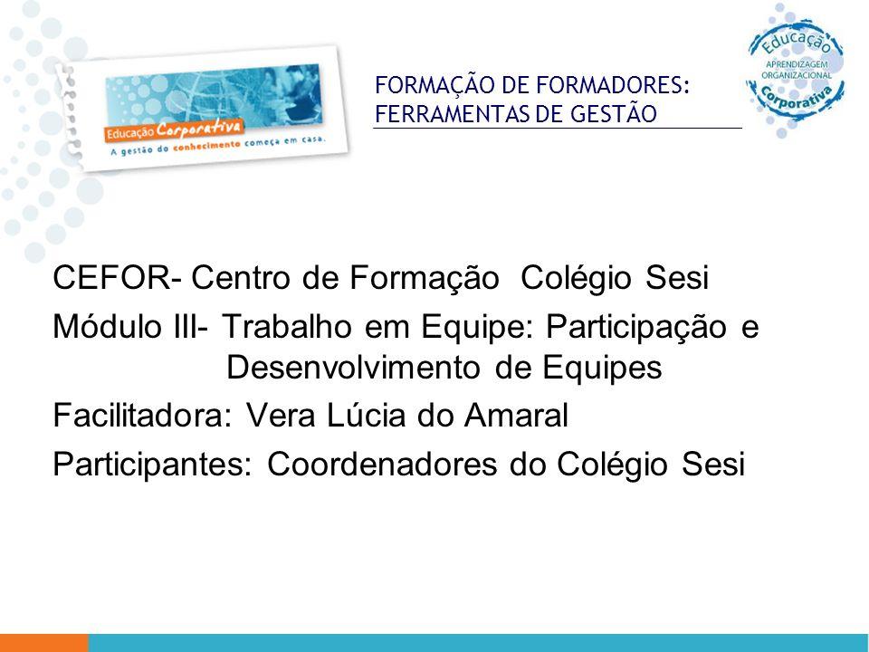 FORMAÇÃO DE FORMADORES: FERRAMENTAS DE GESTÃO CEFOR- Centro de Formação Colégio Sesi Módulo III- Trabalho em Equipe: Participação e Desenvolvimento de