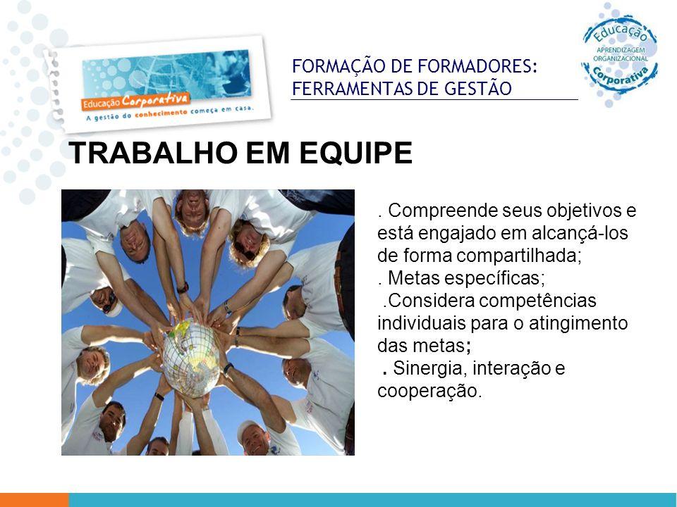 FORMAÇÃO DE FORMADORES: FERRAMENTAS DE GESTÃO TRABALHO EM EQUIPE. Compreende seus objetivos e está engajado em alcançá-los de forma compartilhada;. Me