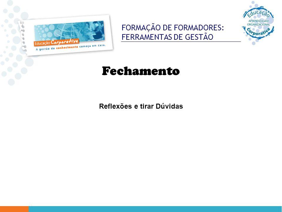 FORMAÇÃO DE FORMADORES: FERRAMENTAS DE GESTÃO Fechamento Reflexões e tirar Dúvidas