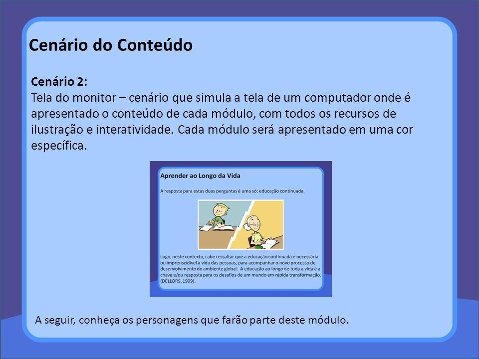 Cenário do Conteúdo Cenário 2: Tela do monitor – cenário que simula a tela de um computador onde é apresentado o conteúdo de cada módulo, com todos os