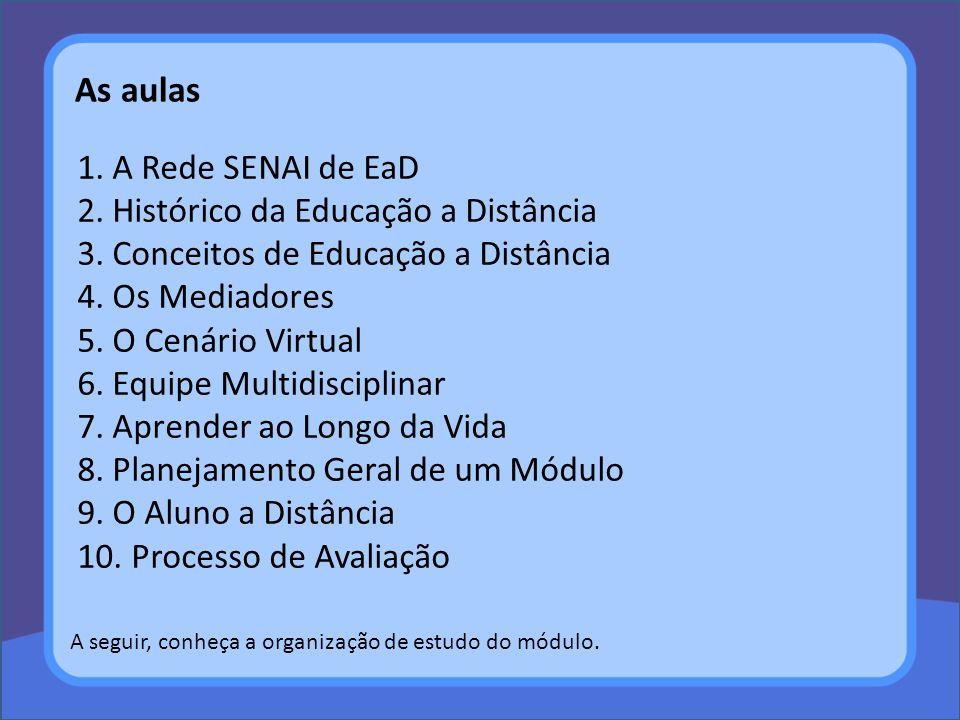 1. A Rede SENAI de EaD 2. Histórico da Educação a Distância 3. Conceitos de Educação a Distância 4. Os Mediadores 5. O Cenário Virtual 6. Equipe Multi