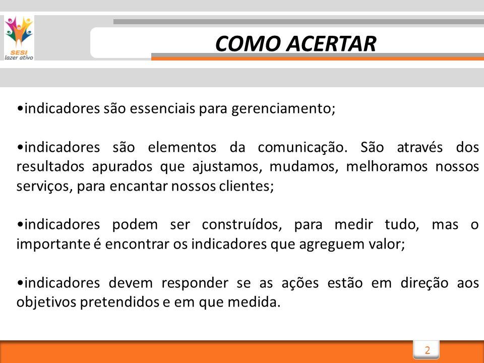 2 indicadores são essenciais para gerenciamento; indicadores são elementos da comunicação.