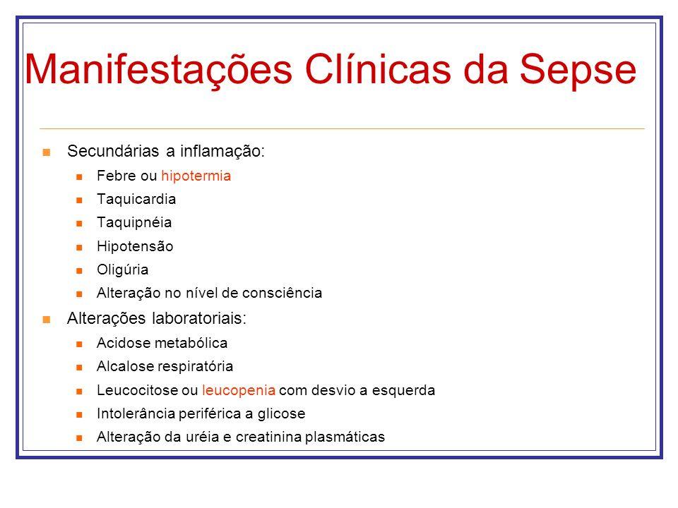 Manifestações Clínicas da Sepse Secundárias a inflamação: Febre ou hipotermia Taquicardia Taquipnéia Hipotensão Oligúria Alteração no nível de consciê