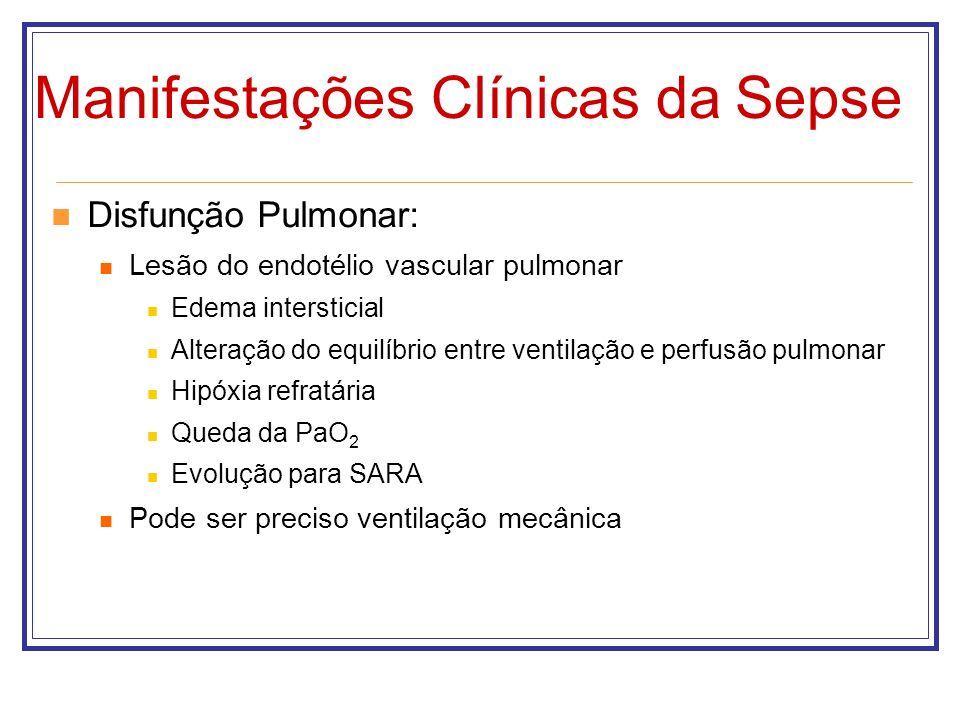 Manifestações Clínicas da Sepse Disfunção Pulmonar: Lesão do endotélio vascular pulmonar Edema intersticial Alteração do equilíbrio entre ventilação e