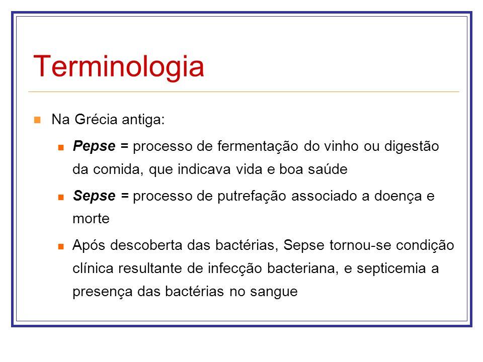 Terminologia Na Grécia antiga: Pepse = processo de fermentação do vinho ou digestão da comida, que indicava vida e boa saúde Sepse = processo de putre