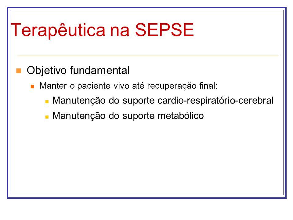 Terapêutica na SEPSE Objetivo fundamental Manter o paciente vivo até recuperação final: Manutenção do suporte cardio-respiratório-cerebral Manutenção