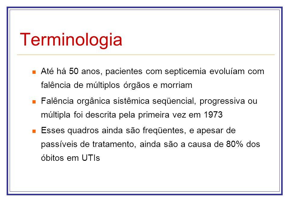 Terminologia Até há 50 anos, pacientes com septicemia evoluíam com falência de múltiplos órgãos e morriam Falência orgânica sistêmica seqüencial, prog