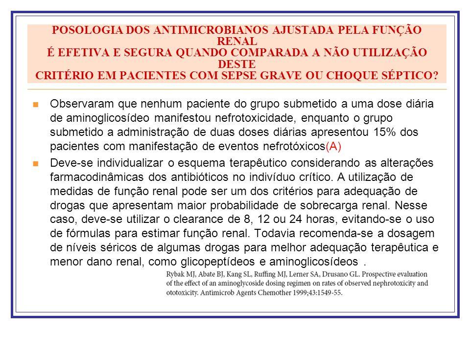 POSOLOGIA DOS ANTIMICROBIANOS AJUSTADA PELA FUNÇÃO RENAL É EFETIVA E SEGURA QUANDO COMPARADA A NÃO UTILIZAÇÃO DESTE CRITÉRIO EM PACIENTES COM SEPSE GR