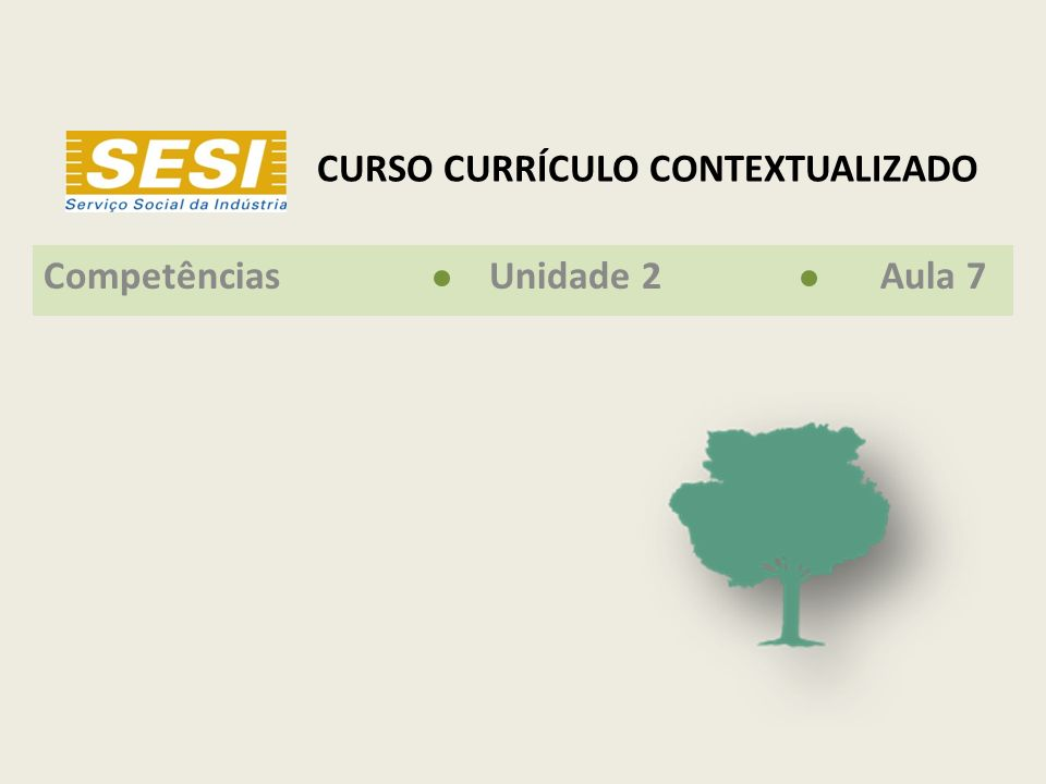 CURSO CURRÍCULO CONTEXTUALIZADO Competências Unidade 2 Aula 7