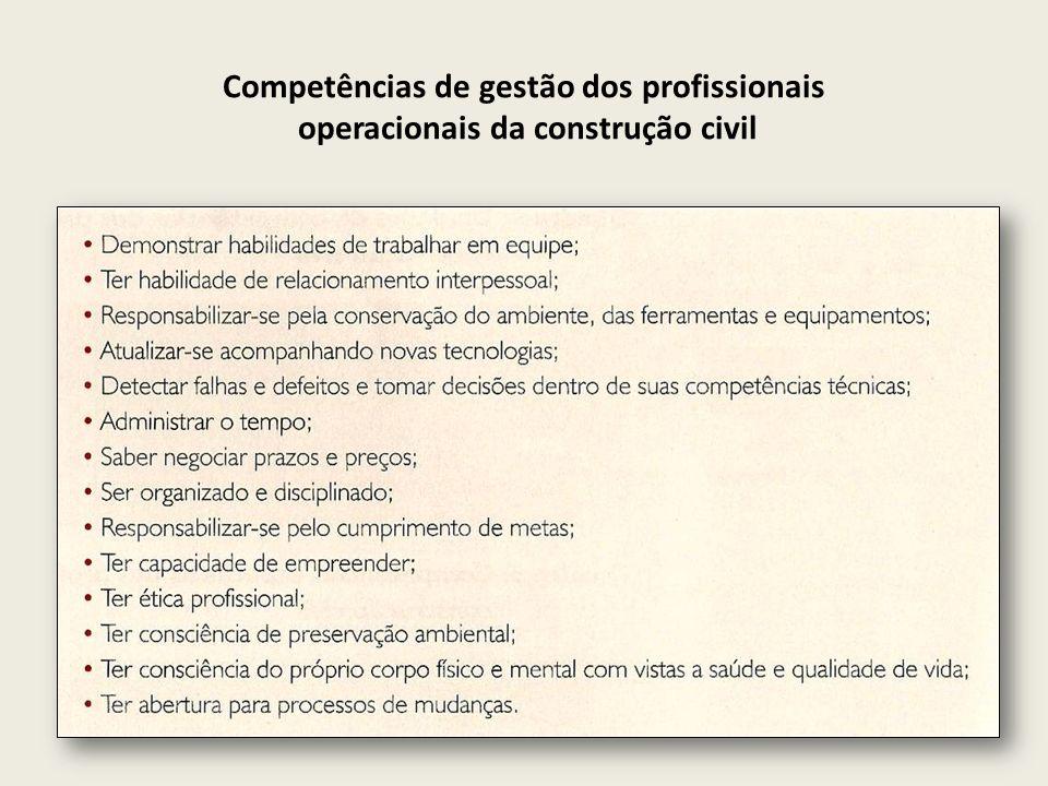 Competências de gestão dos profissionais operacionais da construção civil