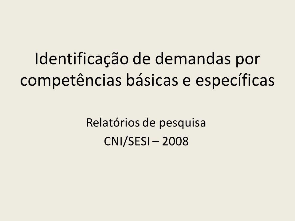Identificação de demandas por competências básicas e específicas Relatórios de pesquisa CNI/SESI – 2008