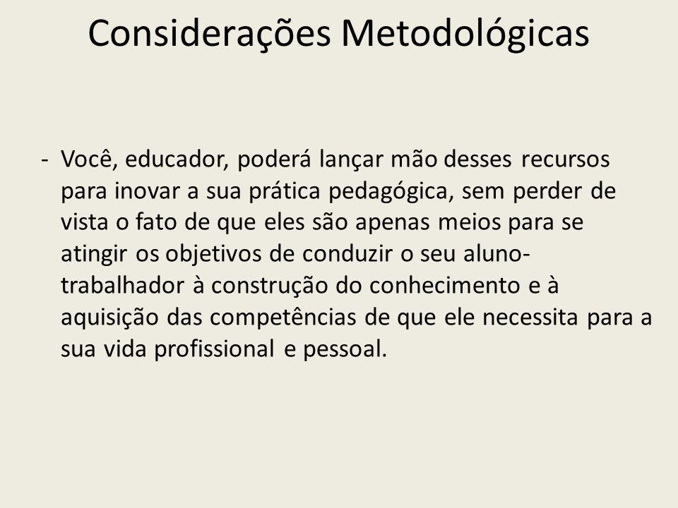 Considerações Metodológicas -Você, educador, poderá lançar mão desses recursos para inovar a sua prática pedagógica, sem perder de vista o fato de que