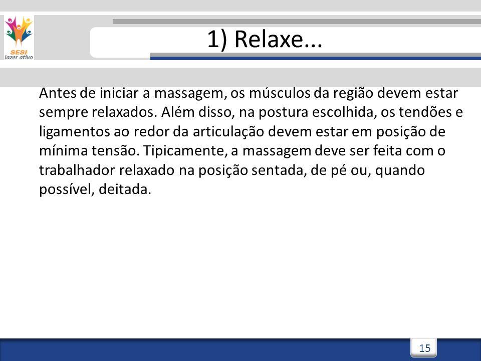3/3/201415 1) Relaxe... Antes de iniciar a massagem, os músculos da região devem estar sempre relaxados. Além disso, na postura escolhida, os tendões