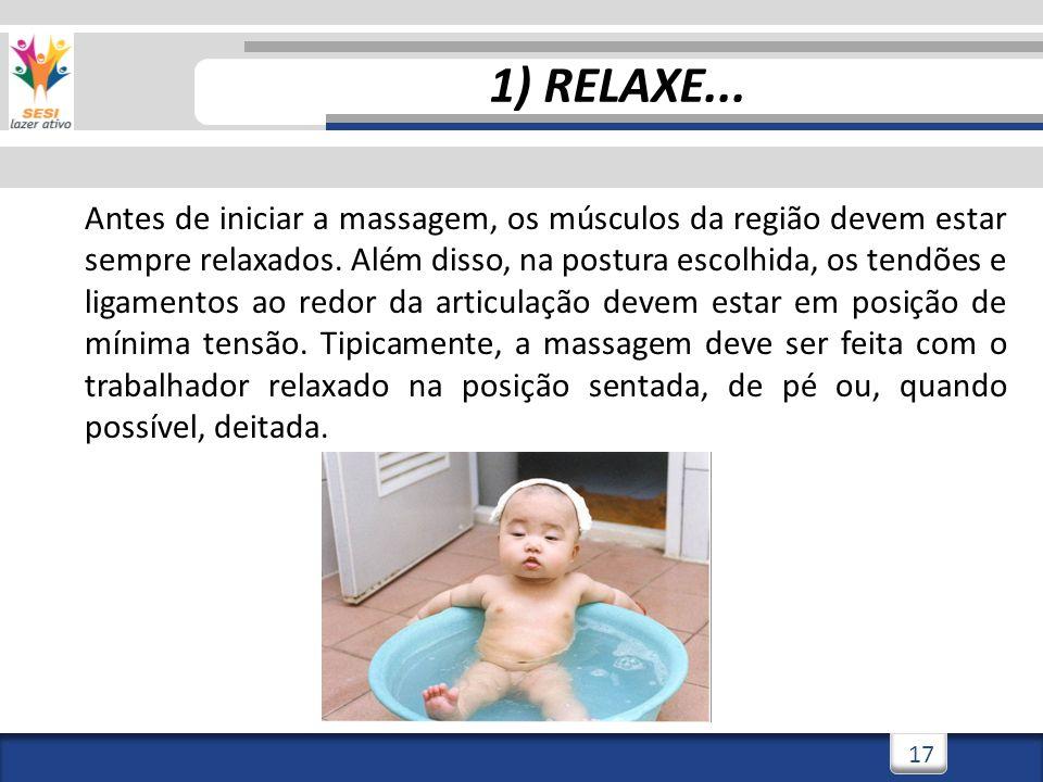 3/3/201417 1) RELAXE... Antes de iniciar a massagem, os músculos da região devem estar sempre relaxados. Além disso, na postura escolhida, os tendões
