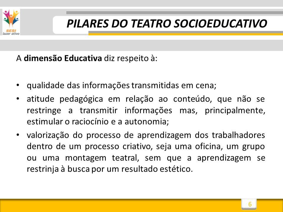 6 A dimensão Educativa diz respeito à: qualidade das informações transmitidas em cena; atitude pedagógica em relação ao conteúdo, que não se restringe