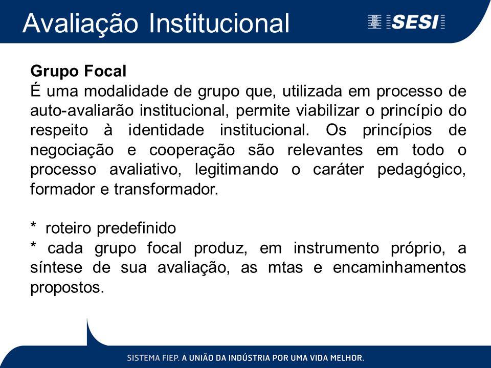 Avaliação Institucional Grupo Focal É uma modalidade de grupo que, utilizada em processo de auto-avaliarão institucional, permite viabilizar o princíp