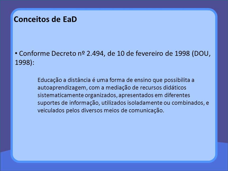 Conceitos de EaD Conforme Belloni (2001): na França dos Anos 70, a EaD era entendida como uma formação continuada, ou educação ao longo da vida, sendo parte de um sistema mais amplo de transmissão do saber, de onde vem a definição que: Ensino a distância é o ensino que não implica a presença física de um professor indicado para ministrá-lo no lugar onde é recebido, ou no qual o professor está presente apenas em certas ocasiões ou para determinadas tarefas (LEI FRANCESA, 1971 apud BELLONI, 2001, p.