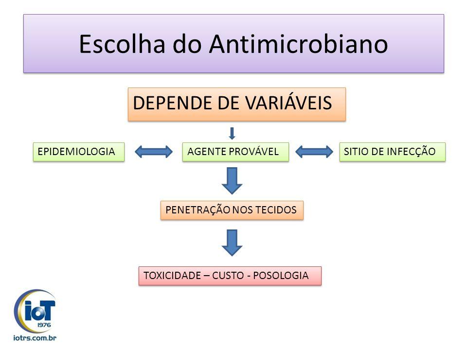 Escolha do Antimicrobiano DEPENDE DE VARIÁVEIS SITIO DE INFECÇÃO AGENTE PROVÁVEL EPIDEMIOLOGIA PENETRAÇÃO NOS TECIDOS TOXICIDADE – CUSTO - POSOLOGIA
