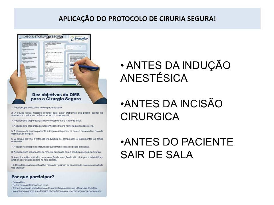 APLICAÇÃO DO PROTOCOLO DE CIRURIA SEGURA! ANTES DA INDUÇÃO ANESTÉSICA ANTES DA INCISÃO CIRURGICA ANTES DO PACIENTE SAIR DE SALA