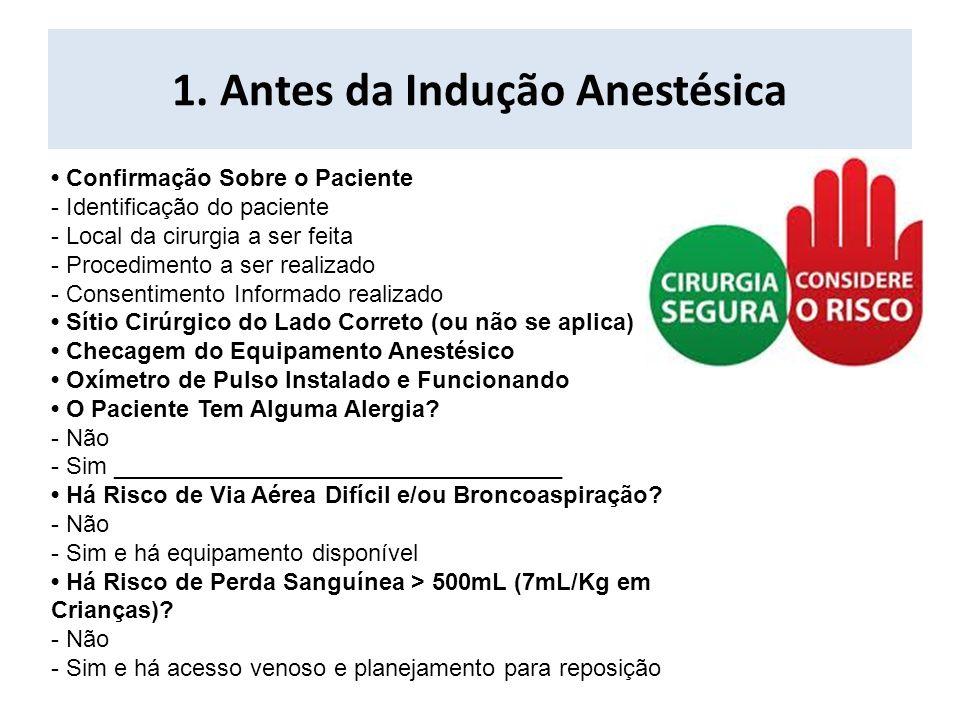 1. Antes da Indução Anestésica Confirmação Sobre o Paciente - Identificação do paciente - Local da cirurgia a ser feita - Procedimento a ser realizado