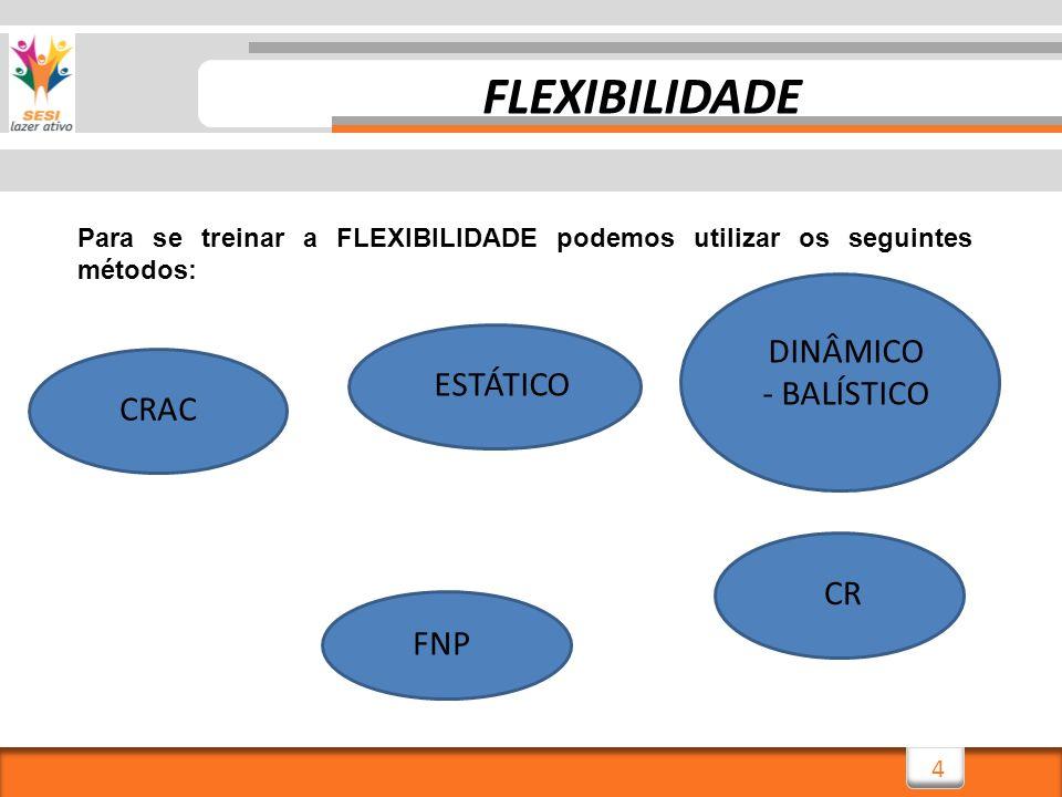 4 Para se treinar a FLEXIBILIDADE podemos utilizar os seguintes métodos: ESTÁTICO DINÂMICO - BALÍSTICO CRAC CR FNP FLEXIBILIDADE