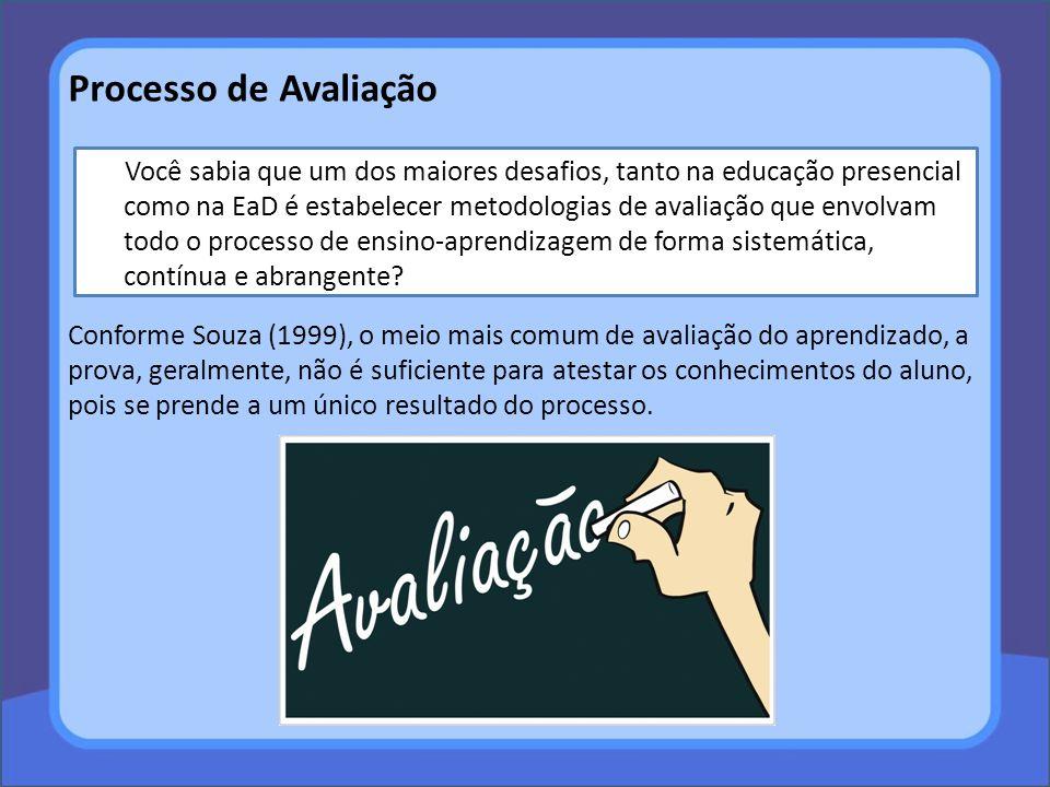 Conforme Souza (1999), o meio mais comum de avaliação do aprendizado, a prova, geralmente, não é suficiente para atestar os conhecimentos do aluno, po