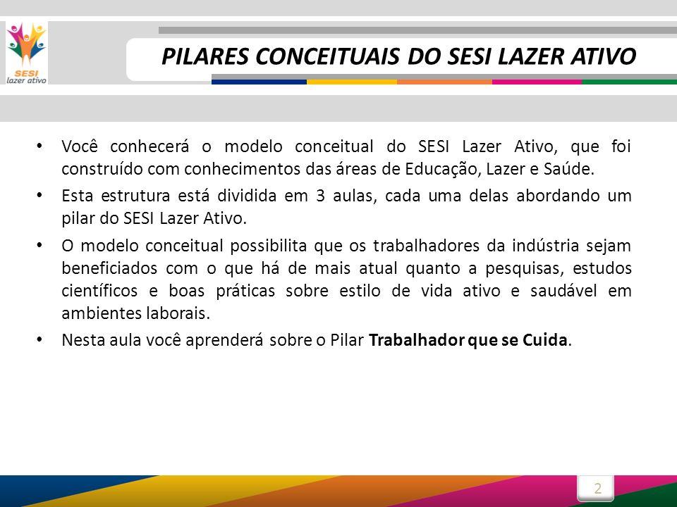 2 Você conhecerá o modelo conceitual do SESI Lazer Ativo, que foi construído com conhecimentos das áreas de Educação, Lazer e Saúde. Esta estrutura es