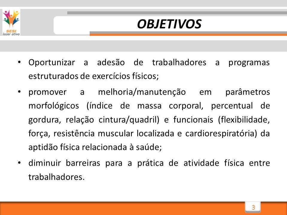 3 OBJETIVOS Oportunizar a adesão de trabalhadores a programas estruturados de exercícios físicos; promover a melhoria/manutenção em parâmetros morfoló