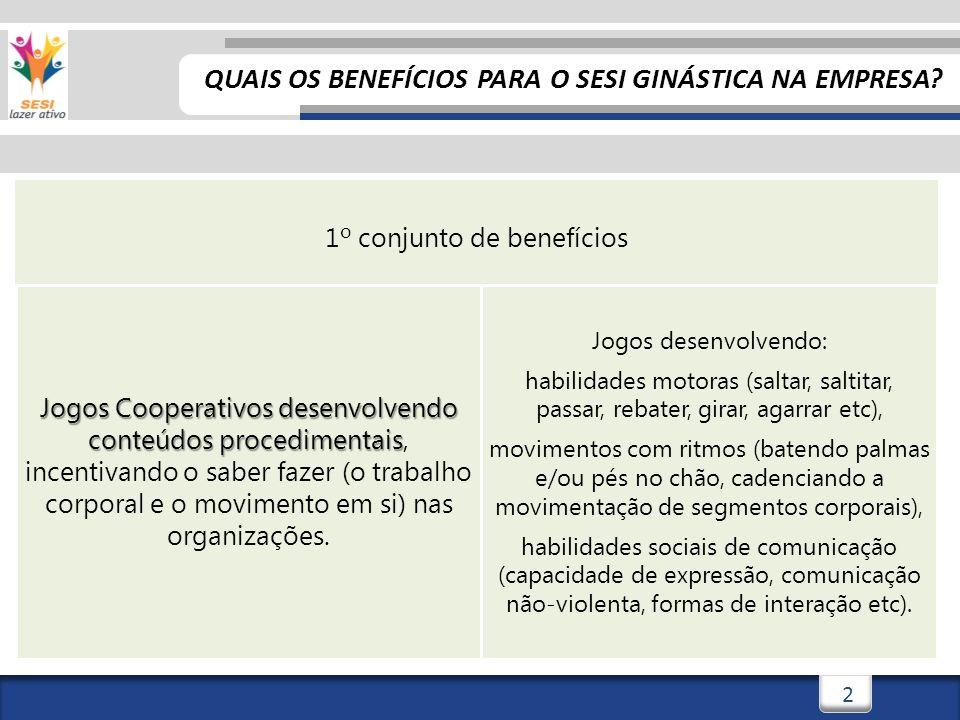 3 2º conjunto de benefícios Jogos Cooperativos desenvolvendo conteúdos conceituais Jogos Cooperativos desenvolvendo conteúdos conceituais, abordando o saber de fatos, dados e conceitos sobre estilo de vida ativo nas organizações.