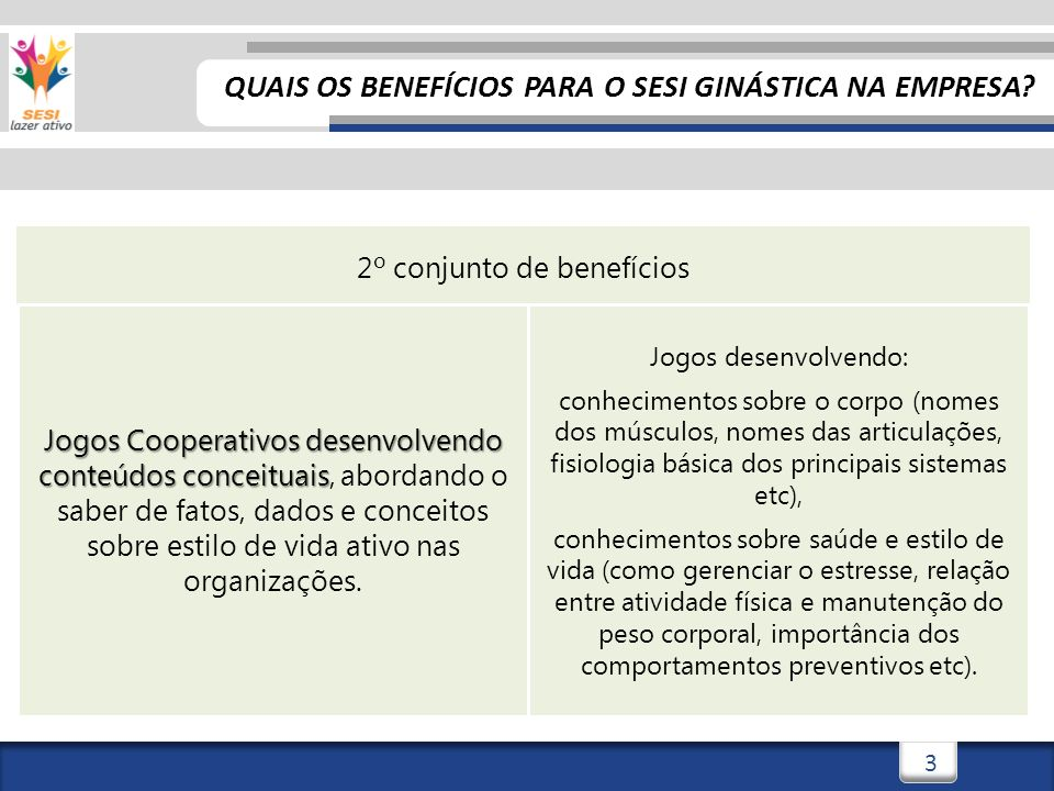 4 3º conjunto de benefícios Jogos Cooperativos desenvolvendo conteúdos atitudinais Jogos Cooperativos desenvolvendo conteúdos atitudinais, incentivando o saber ser e conviver nas organizações.