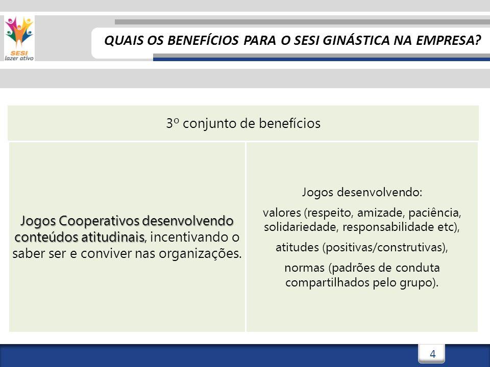 5 Que tal um exemplo real de aplicação dos Jogos Cooperativos em sessão do SESI Ginástica na Empresa.
